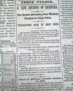 1862 Civil War Newspaper GOLDSBORO NC MAP Battle of Fredericksburg