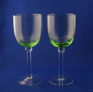 Elegant Depression Era Glass Pair of Green Wine Goblets 9 oz c.1930