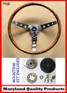 Falcon Mustang with Generator Grant Wood Steering Wheel 15 Chrome