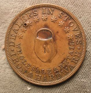 Grand Rapids MI Foster Parry Old Padlock Pre Civil War Ad Token Circa