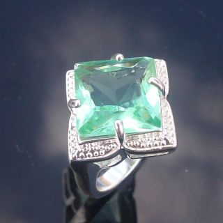 Jewelry Gift Silver Gemstone Ring Green Quartz Ring Size 8