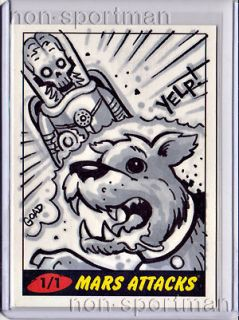 Mars Attacks Topps Heritage Sketch Goad Destroying A Dog