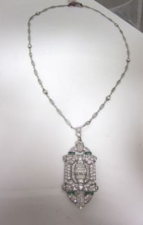 Spectacular 10 70C Diamond Platinum Emerald Unique Antique Art Deco