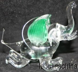 Unbranded Glass Elephant Green Wings Hanging Ornament Good Luck