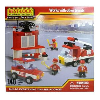 Lock Construction Fire Truck, Car and Station   140 Pieces
