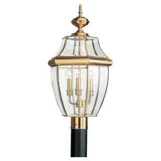 Sea Gull Lighting Classic Outdoor Post Lantern in Polished Brass