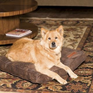 Jax and Bones Faux Leather Pillow Dog Bed in Cognac   Rectangle Faux