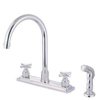 Elements of Design Deck Mount Double Handle Widespread Kitchen Faucet
