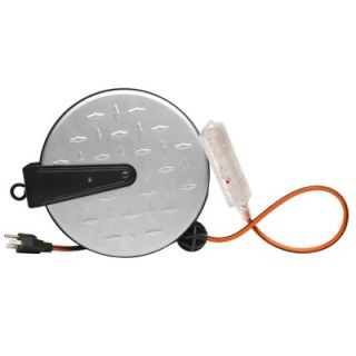 DesignersEdge Retractable Cord Reel with Grounded Lighted Triple Tap