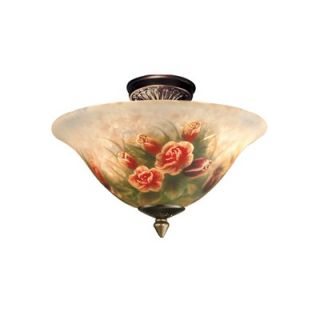 Dale Tiffany Rose Semi Flush Mount   10084/3LTF
