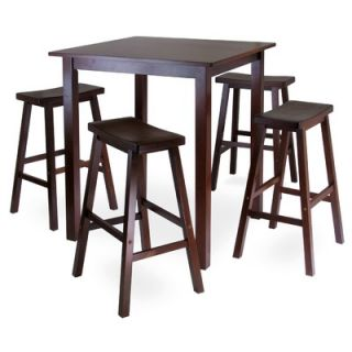Winsome Parkland 5 Piece High Pub Table with 4 Saddle Seat Stools