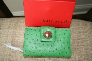 Kate Spade Portola Valley Green Jules Leather Wallet in Box