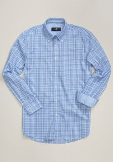 hart schaffner marx men s blue plaid sport shirt button down collar