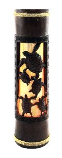 Hawaiian Hand Carved Bamboo Ambient Light Sea Turtles