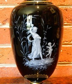 Mary Gregory Victorian Black Amethyst Glass Major Vase Cupid Pate Sur