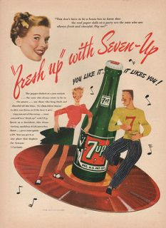 1946 VINTAGE 7 UP SODA WOMAN WITH YELLOW BOW IN HER HAIR PRINT AD