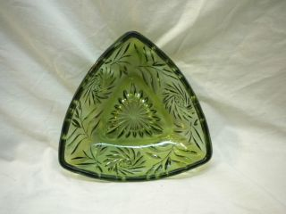 Hazel Atlas Green Glass Triangle Candy Dish No Lid