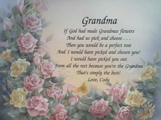 Grandma Personalized Poem Birthday or Christmas Gift