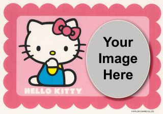 Hello Kitty Birthday Photo Frame Edible Image Icing Cake Topper
