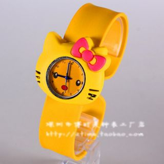 Cute Hello Kitty Watch bow knot Cat Face Cartoon Silicone Jelly watch