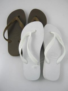 Lot 2 New Havaianas Kids White Olive Flip Flops Sz 4 5