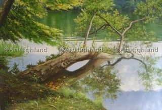 Landscape Oil Paintings Painting Canvas Art Lake Reflection