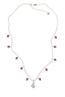 Silver Number   4 on a Fuchsia Crystal Waterfall Necklace [Jewelry