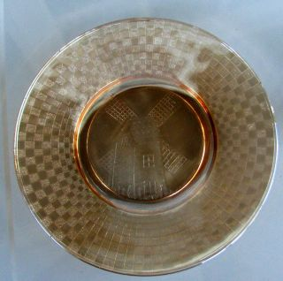 Checkerboard Marigold Carnival Glass Plate by Hazel Atlas