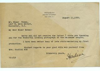 1922 Harry Houdini Signed Letter to Fellow Magician JSA