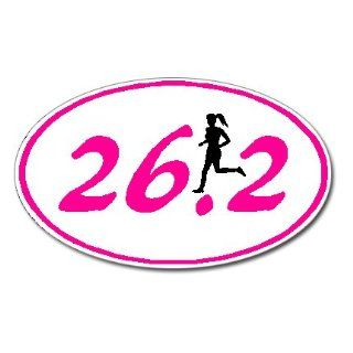 26.2 Marathon GIRL Runner Euro Oval Car Decal / Sticker