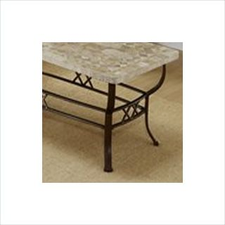 Hillsdale Brookside Ivory w Fossil Stone Top Coffee Table