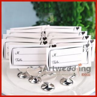 24PCSX Silver Heart Shaped Wedding Place Card Holder Favor