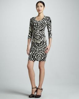 available in black white $ 245 00 nicole miller mixed print jersey