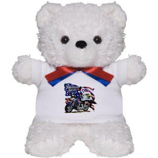 Teddy Bear White American Pride US Flag Motorcycle and