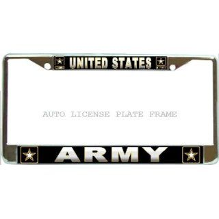 US Army Chrome Metal Auto License Plate Frame Holder