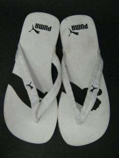 description you are bidding on puma w hite flip flops sandals shoes sz