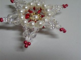 Vintage 60s Mod Space Age Pearls Beaded Star Ornament Homemade
