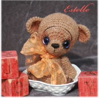 OOAK Mini Teddy Bear 5 ★ Crocheted Alpaca★ by Thread Artist