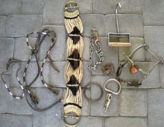 Headstall Bridle Copper Roller Bit Horse Stuff Tack Lot as Is