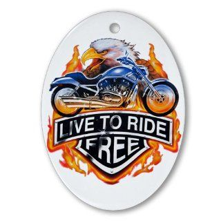Ornament (Oval) Live To Ride Free Eagle and Motorcycle