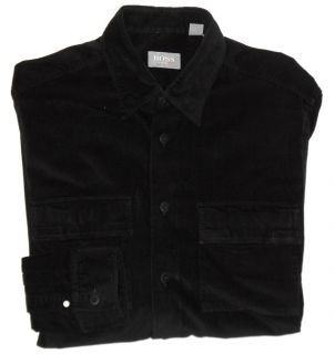 HUGO BOSS MENS BLACK BUTTON FRONT CORDUROY SHIRT L WITH BUTTON DOWN