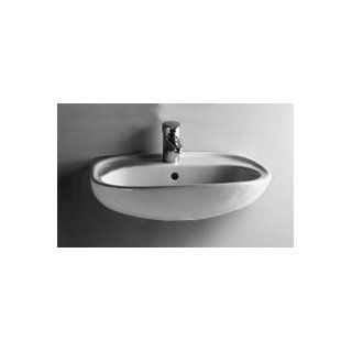 21 Normus Oval Wall Mount Sink   4 Centers   White Home