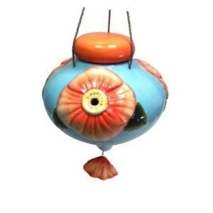 Bird Brain Ceramic Lefleur Poppy Hummingbird Feeder 6203