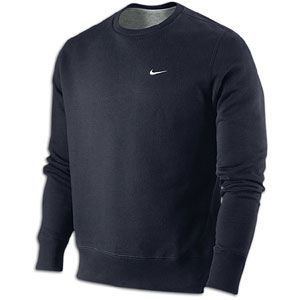 Nike Classic Fleece Swoosh Crew   Mens   Casual   Clothing   Obsidian