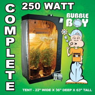 Complete 250 Watt Hydroponic Grow Tent Kit System 8 Plants Light Fan