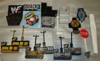 WWE WRESTLING RING FIGURE PLAYSET WEAPONS ACCESSORIES MATTEL JAKKS