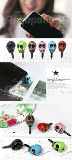 Skull Skeleton Head Earphone Jack Anti Dust Plug Phone iPhone