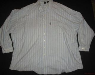 IZOD Mens Big Tall Indigo Prep Striped L s Shirt 4X XXXXL