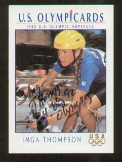 Inga Thompson Signed Autograph Auto 1992 Impel US Olympic Trading Card
