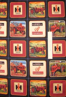 International Harvester Tractor Logo Block VIP Cranston Cotton Fabric